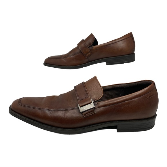 Ecco Edinburgh Brown Leather Buckle Slip On Loafer